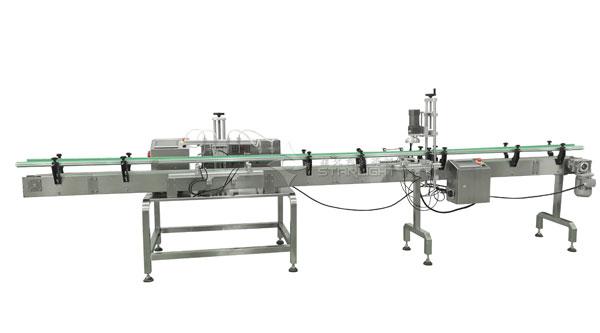 四头磁力泵灌装生产线,小型液体灌装旋盖生产线