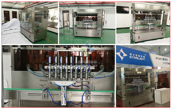 星火厂房调味品生产线中的调味品灌装机设备及细节实拍