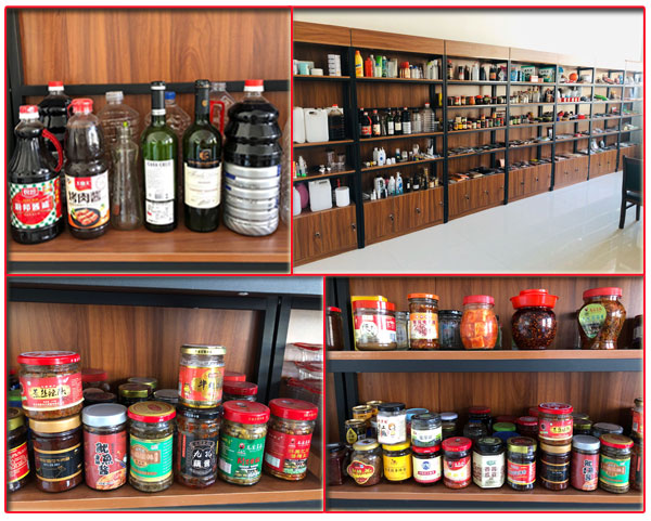 星火厂房小型调味品生产线灌装样品展示柜实拍